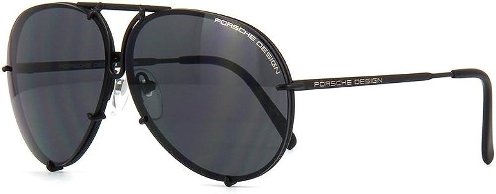 PORSCHE DESIGN P8478 D Aviator Sunglasses Black Matte Frame (Gray- Size lens 69mm + Extra Lenses)