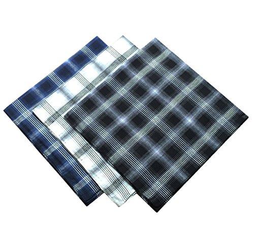 KINGDESON Men's Elegent Checkered Cotton Hankie Hankerchiefs gift set 3PCS by KINGDESON