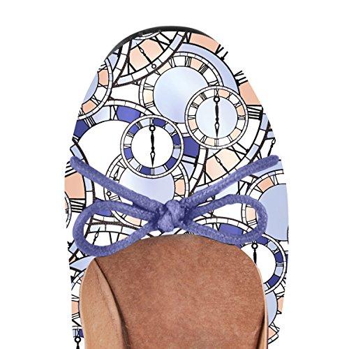 Onlymaker Femmes Rondes Ballerines À Bout Rond Avec Bowknot Glisser Sur Les Chaussures Robe Classique Horloge