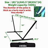 550lbs Weight capacity Two Point portable Hammock Stand only 2 Steel Chains 1 carry bag Included fit for 15ft-12ft.hammocks: Size : 181'' (L)x45.5''(W)x52'' (H) (55 lbs.) Zupapa Brand New Black