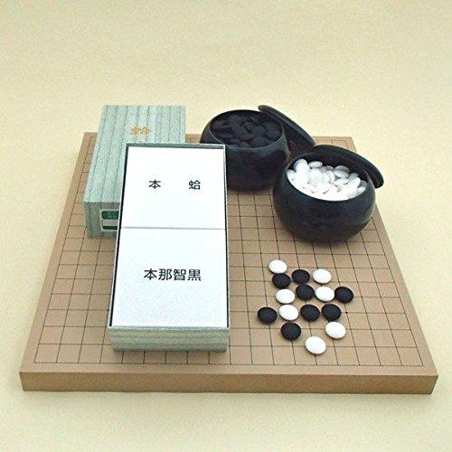 囲碁セット  新桂10号卓上接合碁盤と日向特産蛤碁石月印22号と碁笥黒大のセット