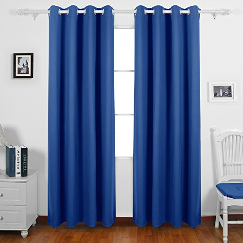 Deconovo Grommet Texuture Embossed Curtains Marble Pattern Blackout Curtains Thermal Insulated Drapes for Bedroom 52x84 Inch Royal Blue Two Panels (Blue And White Roman Shades)