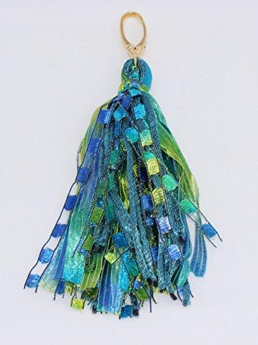 Gift Handcrafted Yarn Tassel Handbag Dangle Charm Purse Accessory- Seascape Mix