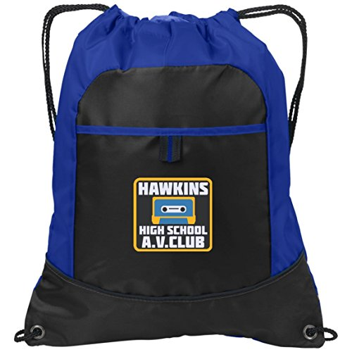 Backpack Embroidered Cinch (Hawkins High School Backpack Pocket Cinch Pack (Black/Hyper Blue))