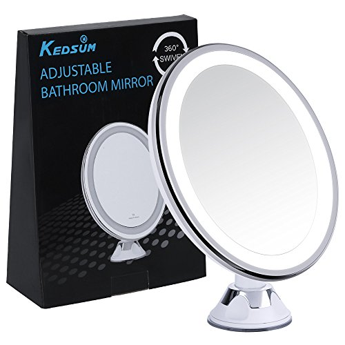 Wide Illuminated Mirror (KEDSUM Oval Shaped 7X Magnifying LED Lighted Makeup Mirror, Daylight Travel Vanity Mirror with Strong Suction Cup,360 Rotation,Compact,Cordless,Battery Operated,Illuminated Bathroom Mirror)