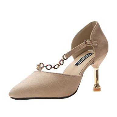 9e27235df3dd8 Amazon.com: YEZIJIN Women's Summer Buckle Chain Fashion Casual Suede ...