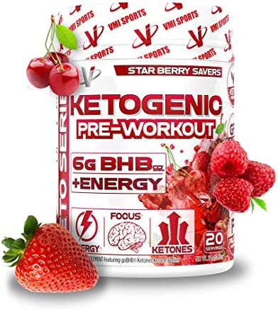 VMI Sports Keto BHB Salts PRE Workout with Organic Caffeine Alpha GPC, Star Berry Savers, Beta-Hydroxybutyrate 20sv