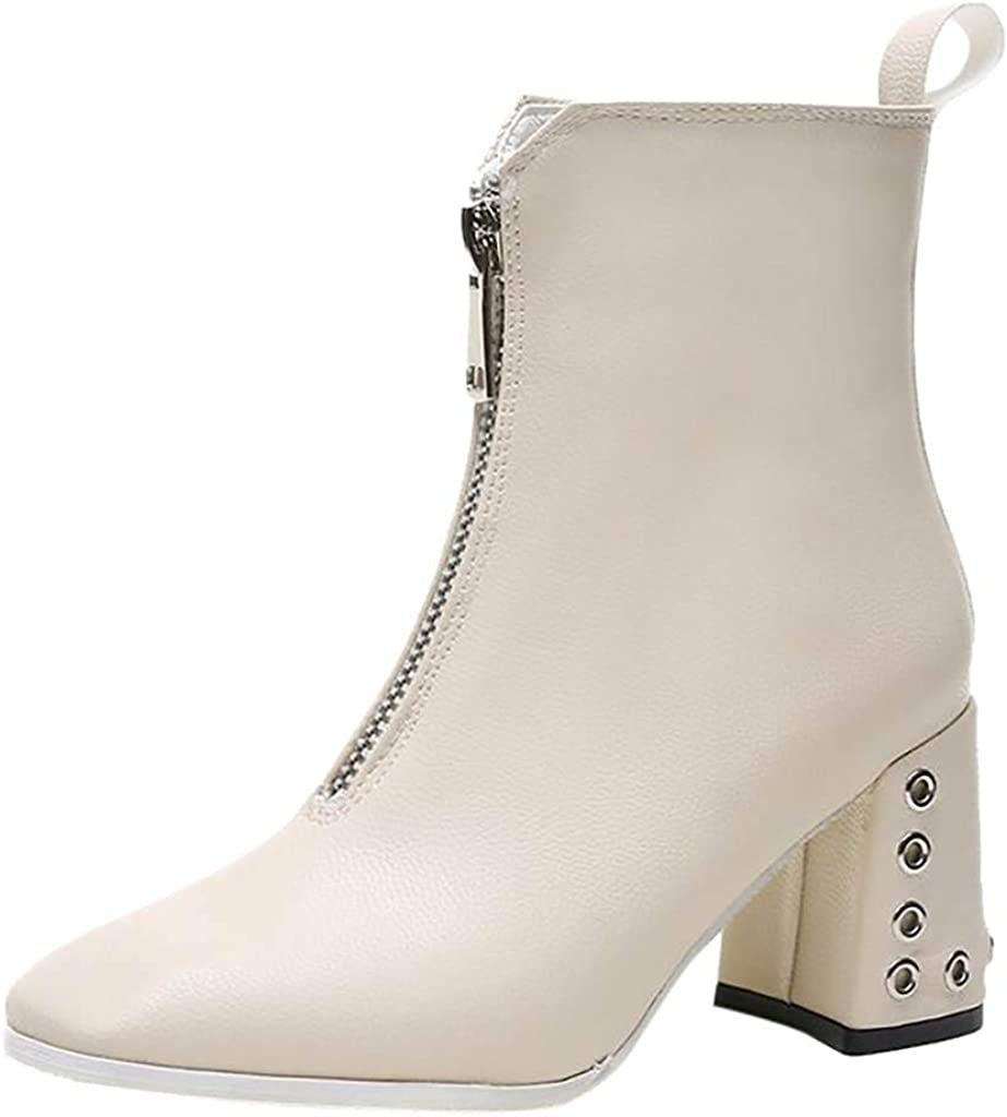 Miuye yuren-Shoe Women Boots Fashion Mid-Heel Boots Chunky Heel High Heel Leather Zipper Ankle Booties