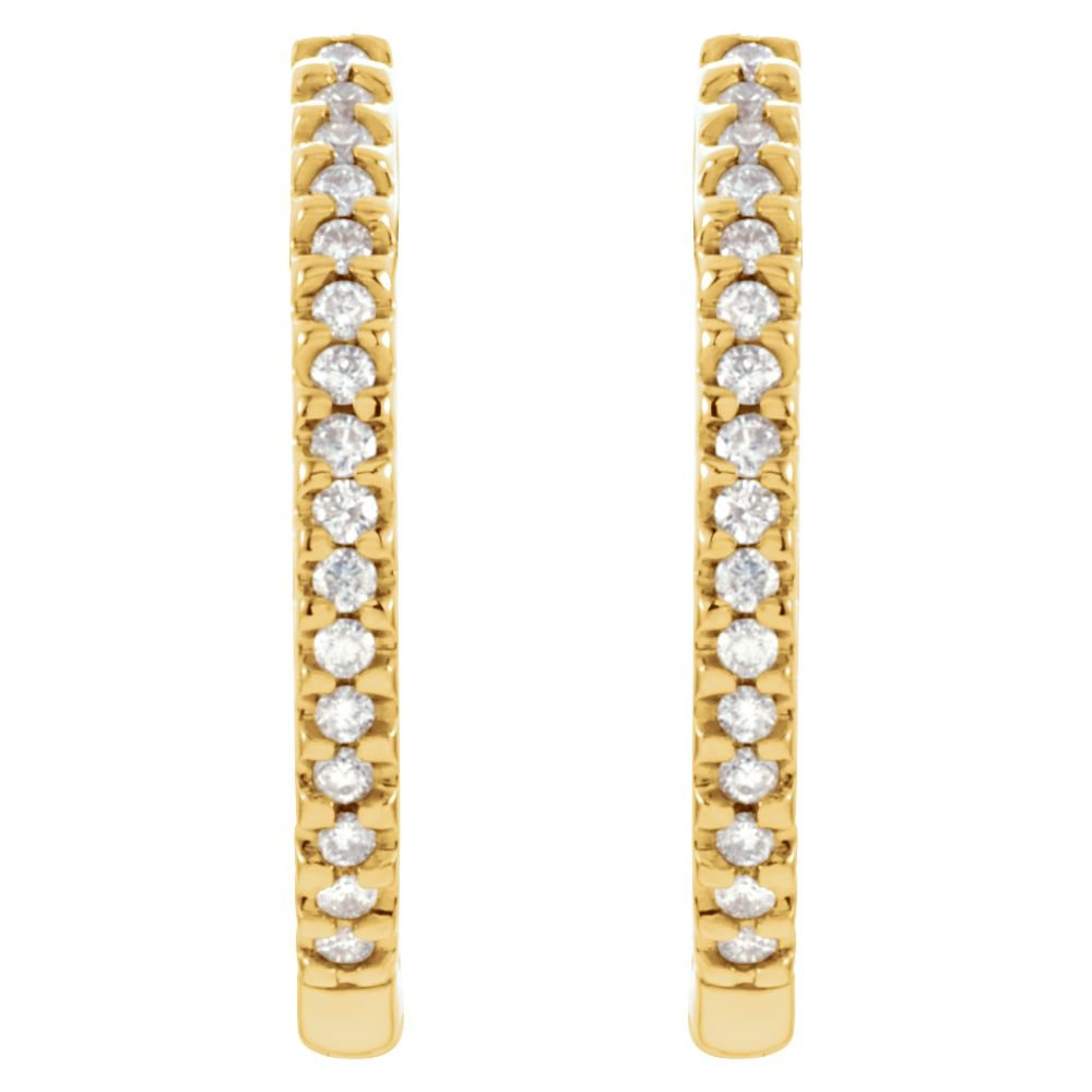 14K Yellow 1//2 CTW Diamond Hinged Inside-Outside Hoop Earrings
