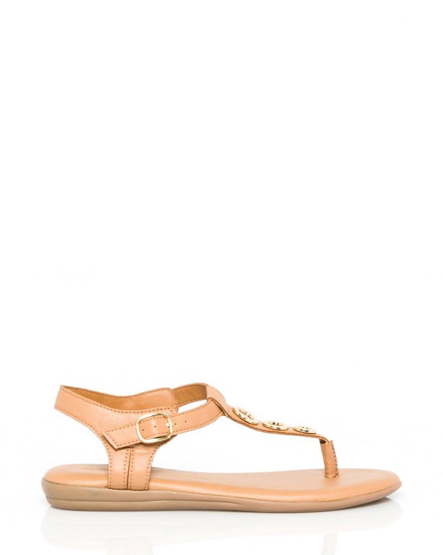 LE CHÂTEAU Women's Leather-Like Thong Sandal,7.5,Tan
