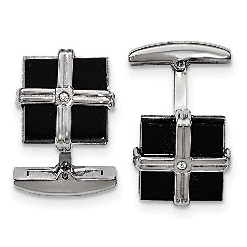En acier inoxydable poli Noir CZ carré Ip de manchette-JewelryWeb