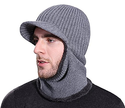 (Rgslon Winter Knit Ninjia Cap Visor Windproof Ski Face Mask Warm Fleece Balaclava Beanie Hat (Grey))
