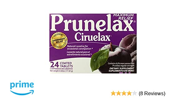 Amazon.com: Prunelax Ciruelax Maximum Felief Natural Laxative for Occasional Constipation 24 Tablets: Health & Personal Care