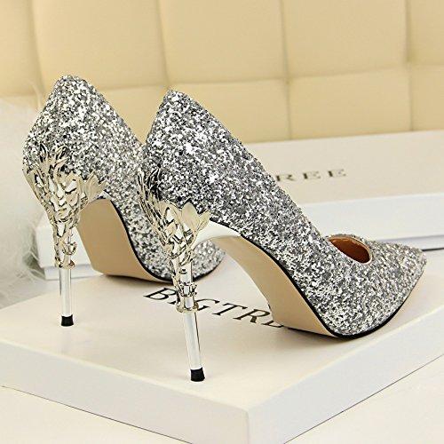 Simples Cuir En Mre Couleur Chaussures Pointe Qiqi Argent Fine Gradient Cristal De 38 Avec Xue Talons HawOfAnwq