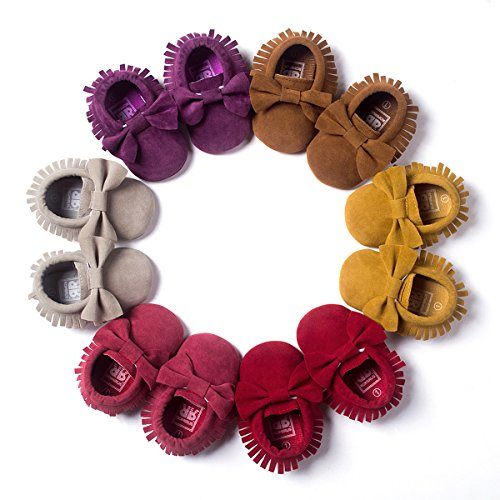 Unisex Baby Moccasins Soft Sole Tassels Prewalker Anti-Slip Shoes (0-6 Months, Bowknot-Grey)