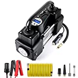 AutoVirazh Dual Cylinder Portable Air Compressor Pump, 12V Heavy Duty Portable Air Pump with LED Flashlight and LCD Digital Display Gauge for Car Tires, Balls, Other Inflatables