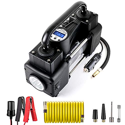 AutoVirazh Air Compressor Tire Inflator, 12V Portable Air Pump for Car Tires, Tire Pump with LED Light, Long Cable and Auto Shut Off Compatible with Car, Bicycle, Motorcycle, Balls, Inflatable Pool