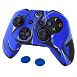 Pandaren Soft Silicone Thicker Skin Cover for Xbox One Controller Set (Camouflage Blue skin X 1 + Thumb Grip X 2)