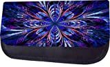 Blue Stained Glass Style Flower Print Design TM Pencil Case Made in the U.S.A.