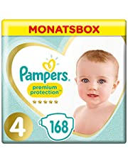 Pampers Premium Protection Windeln, Gr. 4, 9kg-14kg, Monatsbox (1 x 168 Windeln)