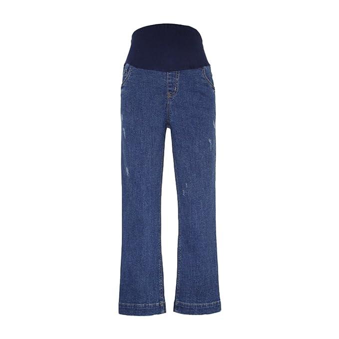 Zhuhaitf Comfort & Fashion Care Belly Denim Jeans Pants Wide Leg Trousers Diseño Inteligente para Mujeres
