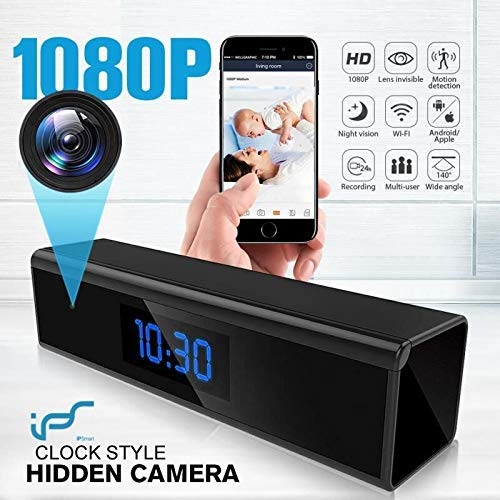 Hidden Camera WiFi Adapter 1080P Spy Camera Clock with Night Vision Spy Camera Mini with Motion Detection Camera Hidden Wireless with Playback - Without Record Voice Function ()
