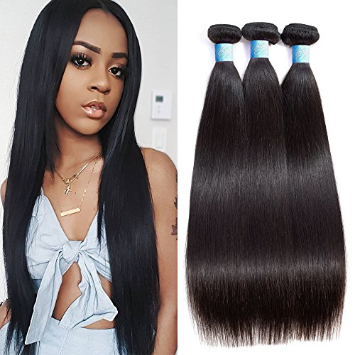Brazilian Virgin Straight Human Hair 3 Bundles BLY 8A Unprocessed Natural Black Silky Straight Hair Weave Extensions 300g Total (10/12/14 Inch)
