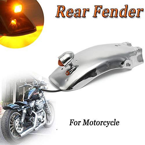 Motorcycle Rear Mudguard Fender with LED Light Universal for Honda Yamaha Suzuki Chopper