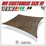 ColourTree 12' x 16' Brown Sun Shade Sail Canopy Rectangle, Commercial Standard Heavy Duty,We Make Custom Size