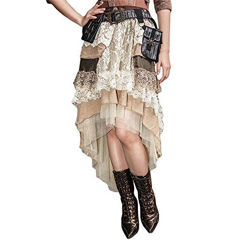 New DEVIL SHACKLES Steampunk Gothic Lace Skirts Punk Vintage Ladies Floral Long Skirt Dress free shipping