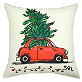 YOUR SMILE Christmas Tree Red Car Decorative Cotton Linen Throw Pillow Case Cushion Cover Pillowcase for Couch Sofa Bed,18 X 18 Inches