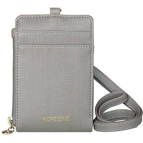 Indressme Womens Cute Candy Color Bifold ID Badge Holder with Lanyard Wallet (Gray)