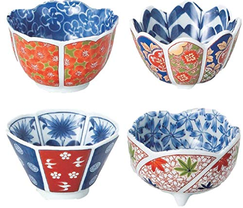 Japanese traditional Nishiki-e patterns small bowls, appetizers, ice cream or desserts, set of 4