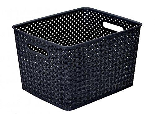 Simplify's Large Resin Wicker Storage Bin in (Black Wicker Storage Baskets)