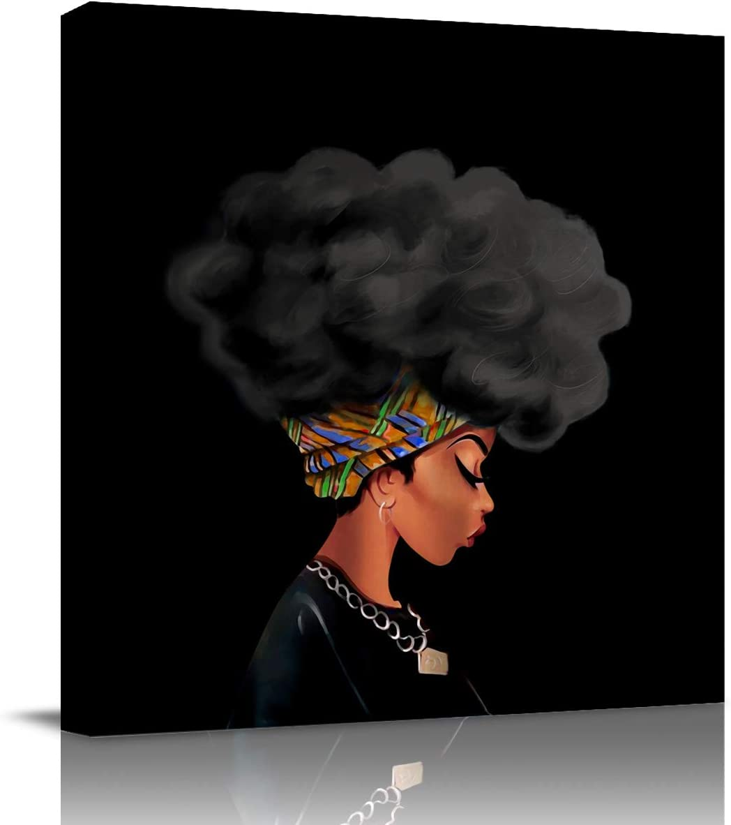 Square Canvas Wall Prints Art for Living Room Bedroom 12x12 inch - African American Pretty Girl Afro Woman with Black Hair Poster Artwork Picture Painting Ready to Hang for Home Bathroom Office Decor