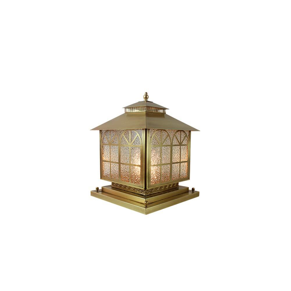 Lanterna di lusso all'aperto coloniale di rame Lanterna luce contemporanea collezione esterna Lanterna alberino all'aperto con smussato giardino di vetro trasparente luci di pilastro