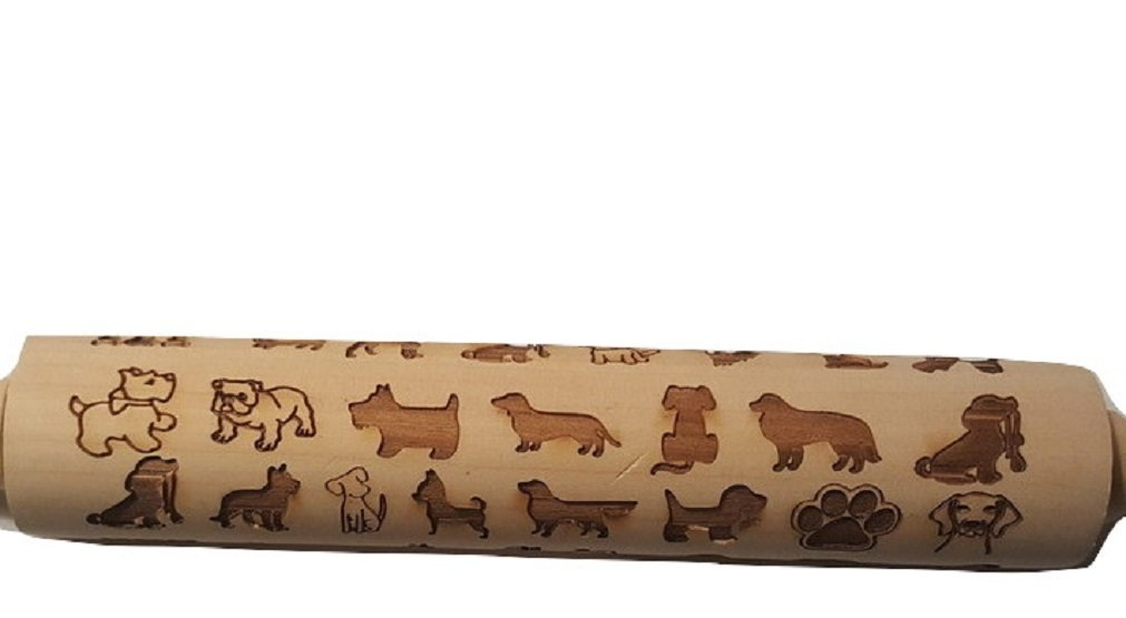 Animal Design All Natural Wooden Laser Embossed Rolling Pin-For Cats and Dog Lovers (Pattern 2, Dogs)