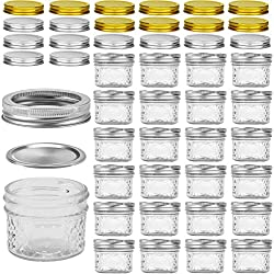 Glass Jars With Lids, VERONES 4 OZ Quilted Crystal Jelly Jars with Lids and Bands, Ideal for Canning, Storing, Home Decor, 25 PACK, Extra 10 Silver & 10 Golden Lids, 30 Chalkboard Labels Include