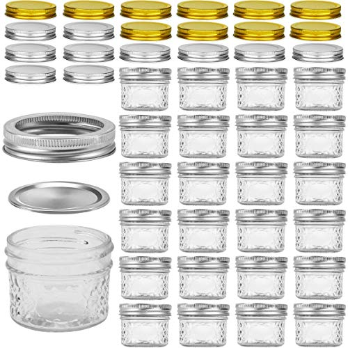Glass Jars With Lids, VERONES 4 OZ Quilted Crystal Jelly Jars with Lids and Bands, Ideal for Canning, Storing, Home Decor, 25 PACK, Extra 10 Silver & 10 Golden Lids, 30 Chalkboard Labels Include by VERONES