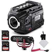 Blackmagic Design URSA Mini Pro 4.6K Professional Digital Film Camera, Rode VMGO Video Mic GO Lightweight On-Camera Microphone Super-Cardio, SanDisk 64GB Extreme PRO Memory and Polaroid Cleaning Cloth