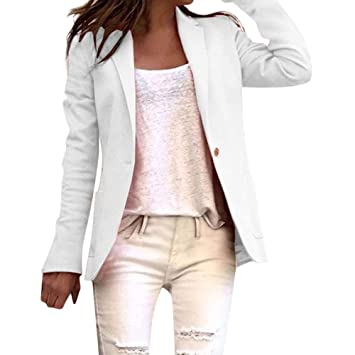 EIJFKNC Chaquetas Office Lady Blazer Manga Larga Color ...