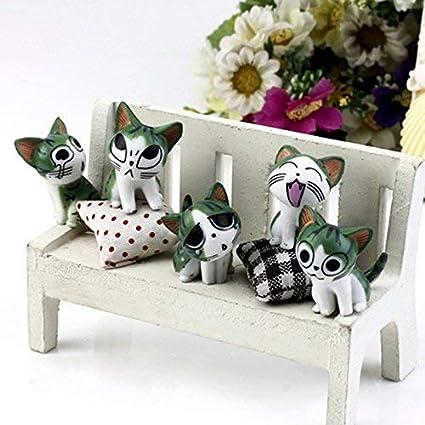 Kofun - Figura decorativa de gato en miniatura para jardín, diseño de casa de muñecas y paisajes, 1 pieza, color al azar, 3 cm: Amazon.es: Jardín