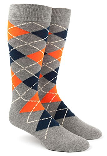 The Tie Bar Argyle Tangerine Men's Cotton Blend Dress Socks (Tangerine Dress Tie)