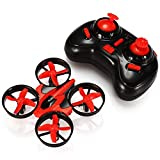 GBTIGER Nihui Mini UFO Drone 2.4GHz 6CH 6 Axis Gyro Headless Mode RC Quadcopter with Remote Control Led Light RTF One-key Return, Red