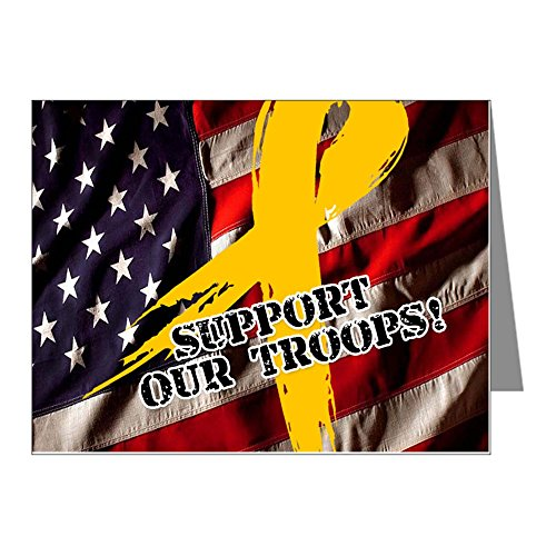 CafePress - Support Troops Button Update - Blank Note Cards (Pack of 20) Matte