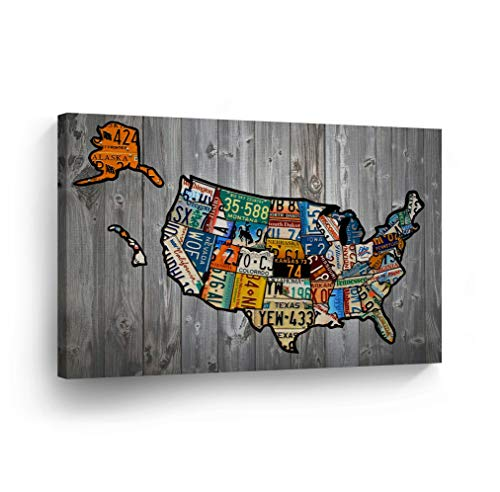 - United States Map License Plate Map Canvas Print States on Wood Texture Vintage USA Map Decor Art Wall Décor Artwork Living Room Bedroom Stretched Ready to Hang -%100 Handmade in USA - 24x36