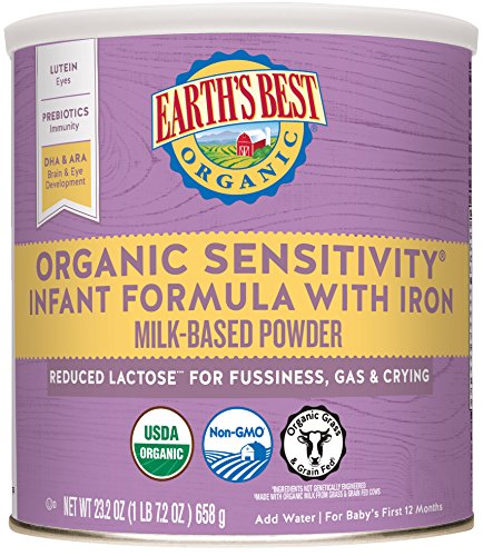 Earth's Best Organic Low Lactose Sensitivity Infant Powder Formula with Iron, Omega-3 DHA and Omega-6 ARA, 23.2 oz. (Pack of 4) (Earths Best Organic Infant Powder Formula With Iron)