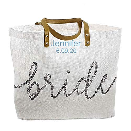(Personalized, Embroidered Mud Pie Bride Wedding Tote Bag, Silver Sequin )