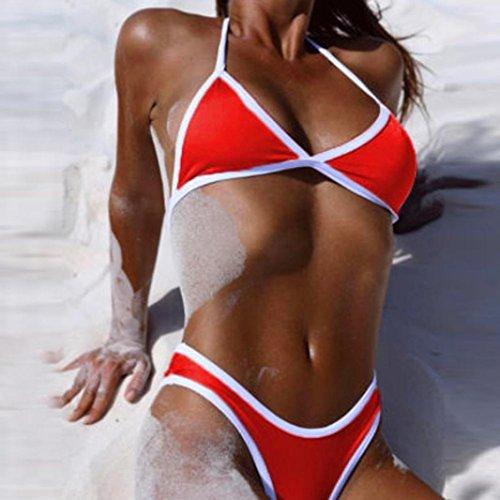 SHOBDW Mujer Push Up Bañadores Conjuntos de bikini acolchados verano Traje de Baño Bikini Rojo