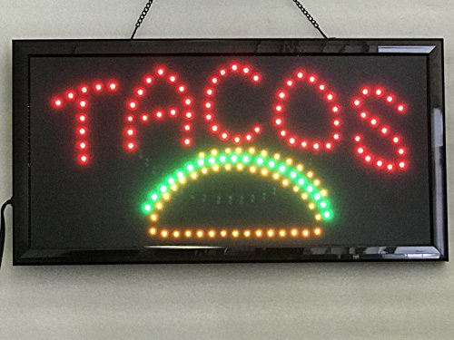 UPSUN Neon Sign OPEN,LED business open sign advertisement board Electric Display Sign, Two Modes Flashing & Steady light, for business, walls, window, shop, bar, hotel(Tacos) ()